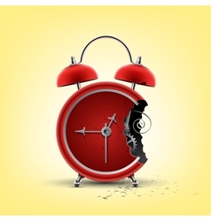 bitten red clock vector image