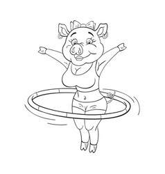 Black and white of cute female pig in a fitness vector