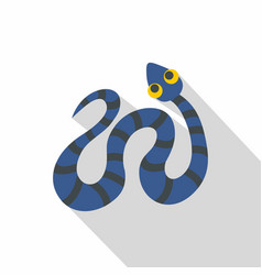 blue snake with black stripes icon flat style vector image