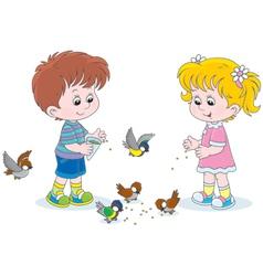 Boy and girl feeding birds vector