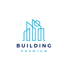 building and sun outline logo icon vector image