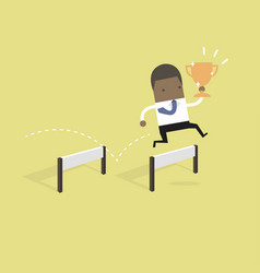 Businessman jumping over obstacle with trophy vector