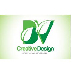bv green leaf letter design logo eco bio leaf vector image