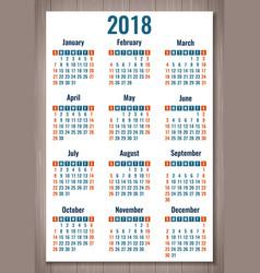 Calendar for 2018 week starts sunday simple vector