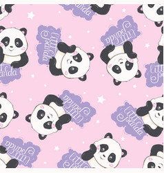 cartoon seamless panda pattern vector image