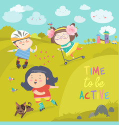 Cheerful active boys and girl having fun while vector