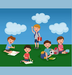 childrens activity in summer kindergarden colorful vector image