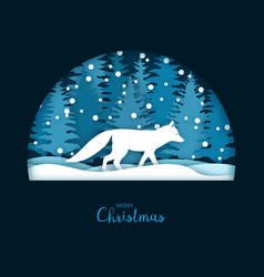 christmas card with a running white fox vector image