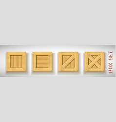 Closed square wood realistic boxes set vector