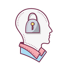color silhouette head with padlock inside vector image