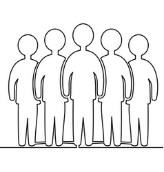 continuous line drawing team members standing vector image