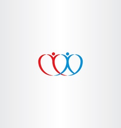 Couple love heart boy and girl logo vector