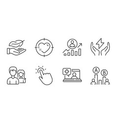 Couple touchpoint and heart target icons set vector