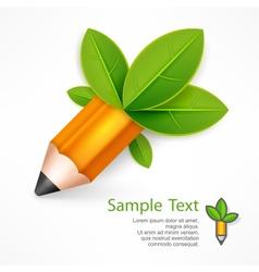 Creative pencil with green vector