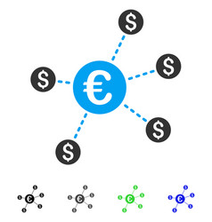 Currency network nodes flat icon vector