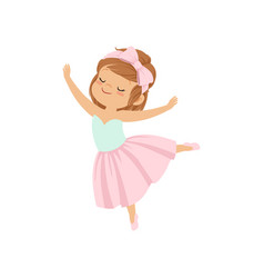 Cute ballerina girl in pink dress dancing vector