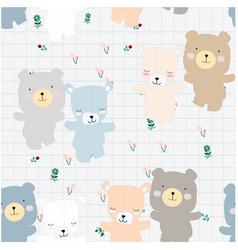 cute couple teddy bear in the garden vector image
