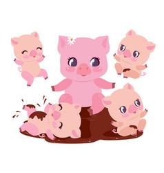 cute pig family bathe dirt puddle flat vector image