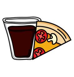 delicious italian pizza and soda glass vector image