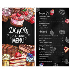 desserts and cakes menu chalkboard sketch vector image