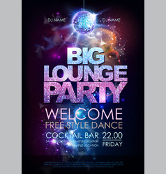 Disco ball background disco big lounge party vector