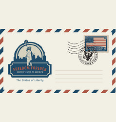 envelope with statue liberty and american flag vector image