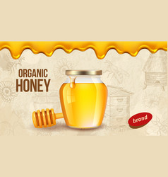 farm honey ad placard template with realistic vector image