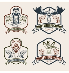Fishing and hunting vintage labels set vector
