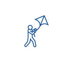 flying kite line icon concept flying kite flat vector image