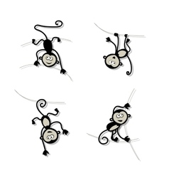Funny monkey collection for your design vector