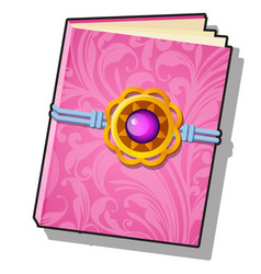 Gift decorated book with pink florid ornament vector