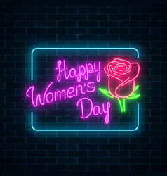 glowing neon banner of world womens day on dark vector image
