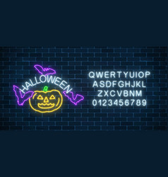 glowing neon sign of halloween invitation banner vector image