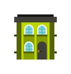 Green two storey house icon flat style vector image