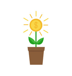 growing money tree big shining coin with dollar vector image