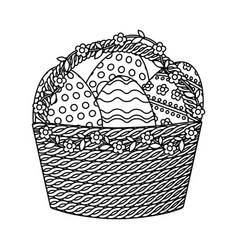 happy easter basket with eggs painted vector image