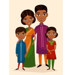 Happy indian family couple with children vector