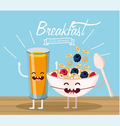 Happy orange juice and cereal cup and spoon vector