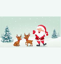 Happy santa with reindeer vector