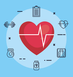 Heart cardiology with fitness icons vector