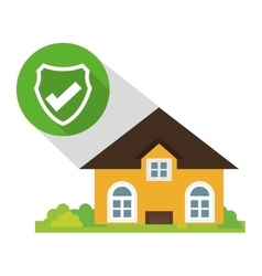 Home security policy protected button shadow vector