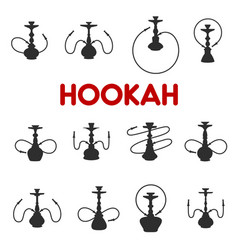 Hookah or shisha smoking icons vector