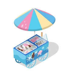 Ice cream cart store isometric icon vector