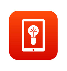 idea lamp on gadget screen icon digital red vector image