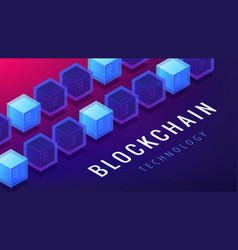 Isometric blockchain cryptocurrency networking vector