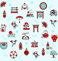 japan items color linear icons set vector image