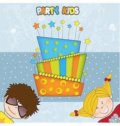 Kids celebrating birthday party vector