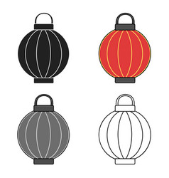 Korean lantern icon in cartoon style isolated on vector