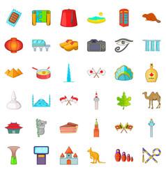 landmark icons set cartoon style vector image