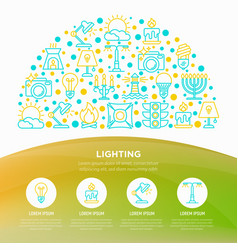 lighting concept in half circle with line icons vector image